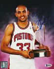 GRANT HILL Signed Detroit PISTONS 8x10 PHOTO w Beckett COA  Inscription