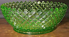 Vintage Unbranded Clear Green Glass Bowl with Ribbed Lip and Studded Side