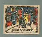 Old Christmas Card Victorian Couple Walks Thru Village St BRIGHT Colors 1930s