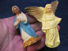 Vintage Chalkware Nativity Mary Figure France  Angel with Gold Wings