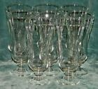 SET OF 8 VINTAGE STEM FOOTED CLEAR GLASS PARFAIT SODA FOUNTAIN ICE CREAM GLASSES
