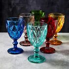6pc Colors Water Wine Beverag Drinking Glasses Goblet Drinkware Tumbler Set