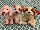 TY Beanie Babies: CUPID, SONNET & HUGGINS the Valentines Day Dogs! MWMT!