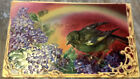 Vintage Best Wishes Postcard Lilacs Bird Sparrow Wren Colorful 1909 Germany