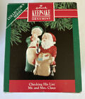 Hallmark 'Checking His List' Mr. And Mrs. Claus Dated 1991 Ornament New In Box