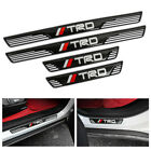 4Pcs TRD Carbon Fiber + Rubber Car Front Door Welcome Plate Sill Scuff Cover
