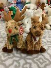 Ty Beanie Babies: RUDY & ROOFTOP the Reindeers! MWMT!