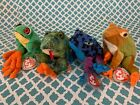 TY Beanie Baby Frog Reptile: DART, CROAKS, PANAMA & PRINCE! MWMT!