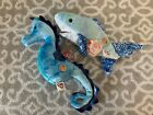Ty Beanie Babies Of The Month Exclusives: CHOMPERS the Shark & TRIDENT! MWMT!