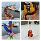 Hand Crafted Painted Sculptured Wine Glass Fish Parrot Sea life Guitar By Yurana