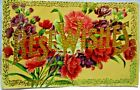 1910 POSTCARD LARGE GOLD LETTERS BEST WISHES CARNATIONS  PURPLE FLOWERS