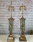 Pair of Fornasetti Style Lamps Eglomise Decoupage Glass Birds Table Lamps