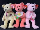 TY Beanie Baby Mother's Day Bear Lot, Mother + Dear + Dearly RARE Tag Errors!