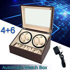 Automatic Watch Winder 4+6 Rotation Case Leather Wooden Display Storage Gift Box
