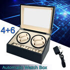 Automatic 4+6 Watch Winder Rotation Case Leather Wooden Display Storage Gift Box