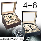 Automatic Watch Winder 4+6 Rotation Display Box Storage Wood Container Gift Case