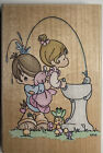 Stampendous Precious Moments Love Is Uplifting Wood Rubber Stamp Water Fountain