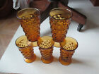 Lot of 6 Vintage Fostoria Amber Indiana Colony Whitehall Cubist Glasses 6 1/4
