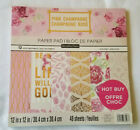 Cardstock Scrapbook Paper Pad PINK CHAMPAGNE 48 Sheets 12x12 Roses Gold Foil