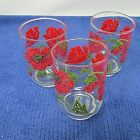 3 VINTAGE LIBBY GLASS RED FLOWER EMBOSSED JUICE GLASS OR TUMBLERS