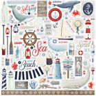 1 12x12 Sheet of Carta Bella Paper BY THE SEA Scrapbook Element Stickers