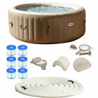 Intex PureSpa 4 Person Inflatable Hot Tub Spa Kit with Cover  Filter Cartridges
