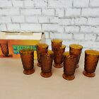 8 INDIANA Whitehall Colony Cubist AMBER Footed Ice Tea Tumblers  6