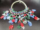 Over The Top Venetian Glass Leaves Vintage Festoon Necklace