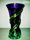 Murano Entwined Rigaree Purple Amethyst  Emerald Green Art Glass Vase 925