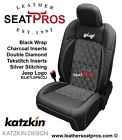 Katzkin Leather Seat Covers 18-20 Jeep Wrangler Jl Sahara Rubicon Black Silver D