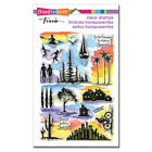 Stampendous SUNRISE SUNSET Perfectly Clear Stamp Set Scenery Watercolor SSC2006