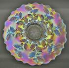 Fenton HOLLY Fabulously Colorful White Carnival Glass 9 10 Plate 7601