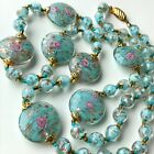 VINTAGE VENETIAN GLASS NECKLACE AQUA BLUE ADVENTURINE ROSES FLATTENED BEADS 31