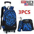 US 3PCS Children School Bag Trolley Backpack Wheels Removable Kids Boys Rucksack