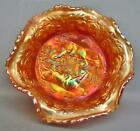 Fenton PANTHER Dark Pink Infused Marigold Carnival Glass Small Berry Bowl 7620