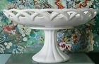 Vintage Open Lace Milk Glass Pedestal Compote Centerpiece Bowl