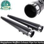 Pair 4 Exhaust Pipes Megaphone Slip On Mufflers For Harley Glide Road Ultra