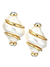KENNETH JAY LANE SHELL SHAPE PEARL FAUX  GOLD CLIP EARRING WITH GRAY PEAR