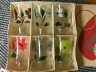 Set of 6 Assorted Vintage Hand Painted Clear Glass Flower Juice Glasses