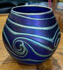 DAVID LOTTON IRIDESCENT PULLED FEATHER SWIRL VASE SIGNED  DATED 1993