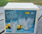 Vtg Indiana Glass NEW in Original Box 4pc Tumblers Diamond Point Pattern