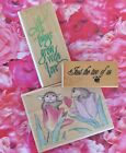 House Mouse Wood Rubber Stamp I Give You My Heart + 2 Phrase Stamps Love Plus Us