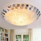 Tiffany Style 2 Light Flush Mount Ceiling Fixture Stained Glass LED Lamp Shade