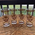 (4) Libbey Drinking Glasses Tumblers Clear w/ Brown Textured Design EUC