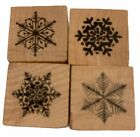 Snowflakes Set of 4 Rubber Stamp Christmas Card Making Holidays Winter Weather