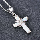 New Design white imitation Opal Cross Pendant Necklaces For Women Silver Jewelry