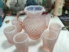 STUNNING FENTON HOBNAIL PINK OPALESCENT PITCHER 6 GLASSES