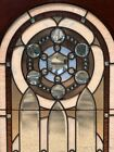Victorian Style Stained Leaded Glass Arched Top Window w Bevels  Jewels