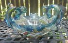 Vtg Murano or Chalet Vaseline Stretch Glass Bowl Free Form Large Heavy