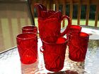 Viking Glass Ruby Red Amberina Lemonade Pitcher  6 Tumblers Hobstar Pattern